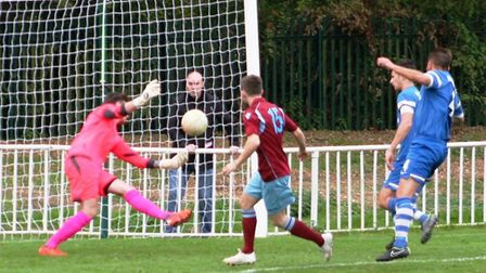 James Ewington playing for Welwyn Garden City against former club London Colney. Picture: DAVE FALLO