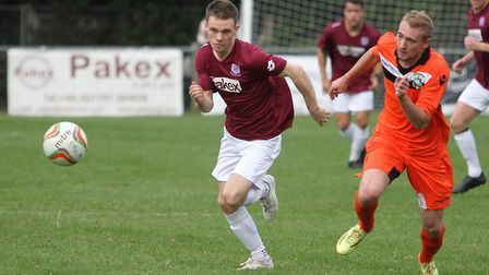 James Ewington in action for Potters Bar Town. Picture: DANNY LOO