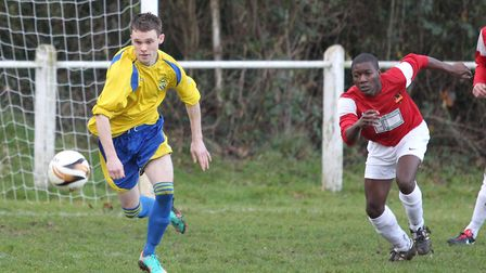 James Ewington chases the ball down in his first spell at Harpenden Town. Picture: DANNY LOO