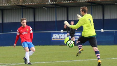 James Ewington playing and scoring for Skew Bridge in the Herts Advertiser Sunday League. Picture: B