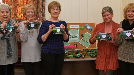 Ruth Moore, Gwen Benn, Marion Dean, July Cope and Sue Brown at the Hemingford Grey WI.
