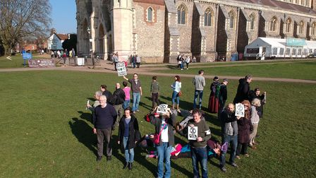 The Extinction Rebellion group in St Albans, making the hourglass logo. Picture: Submitted by Extinc