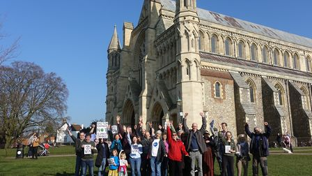 The Extinction Rebellion group in St Albans outside St Albans Cathedral. Picture: Submitted by Extin
