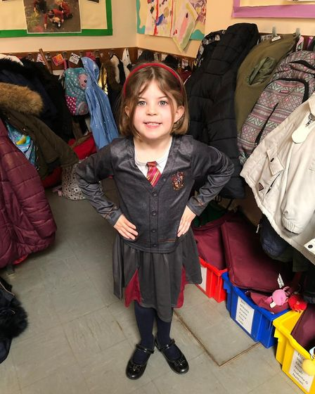 Isabella Garcia, six, as Hermione Granger for World Book Day. Picture: Kate Garcia