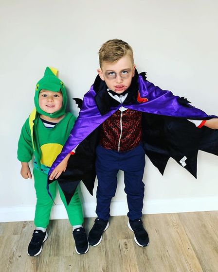 Joshua Smith, five, as the Little Vampire and Harry Smith, three, as Dinosaurs Love Underpants for W
