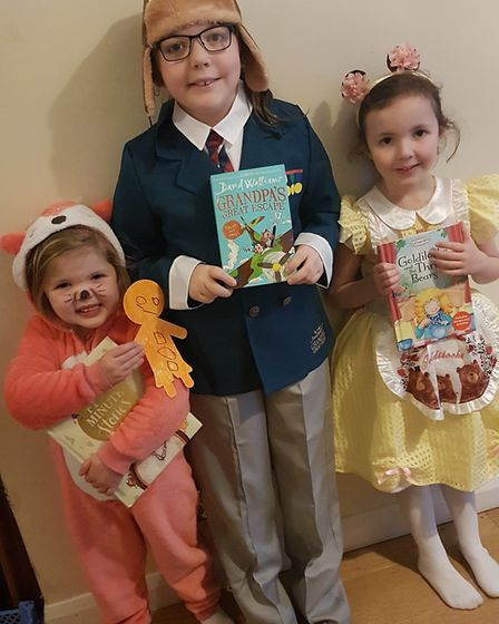 Olive, Grace and Elsie Chabauty as the Fox from the Gingerbread Man, Grandpa from Grandpa's Great Es