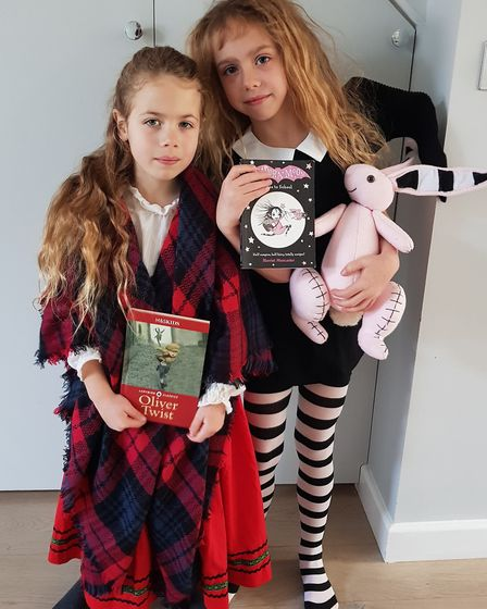 Scarlett as Isadora Moon and Matilda as Nancy from Oliver Twist on World Book Day. Picture: Rebekah