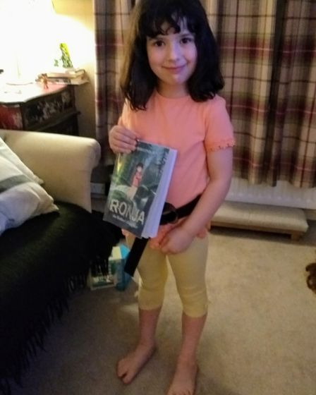 Willow Deegan, five, from Harpenden Academy, as Ronja the Robber's Daughter for World Book Day. Pict