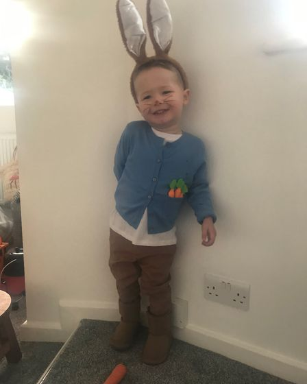 Alby as Peter Rabbit for World Book Day. Picture: Natasha Birch