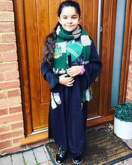 Anya Davies, nine, as Pansy Parkinson for World Book Day. Picture: Darshna Patel-Davies