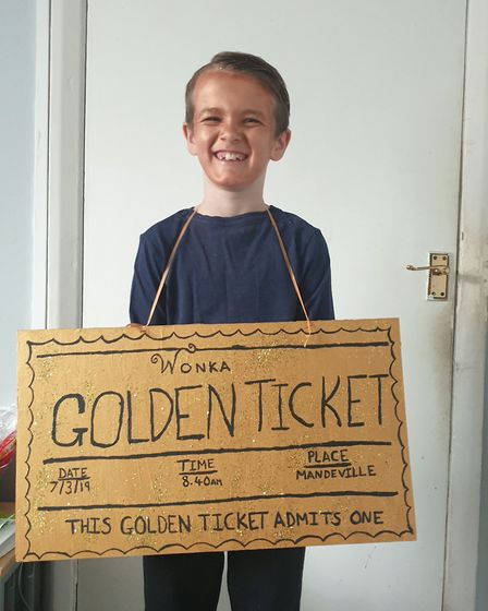 Byron, seven, as the Golden Ticket for World Book Day. Picture: Aileen Harvey