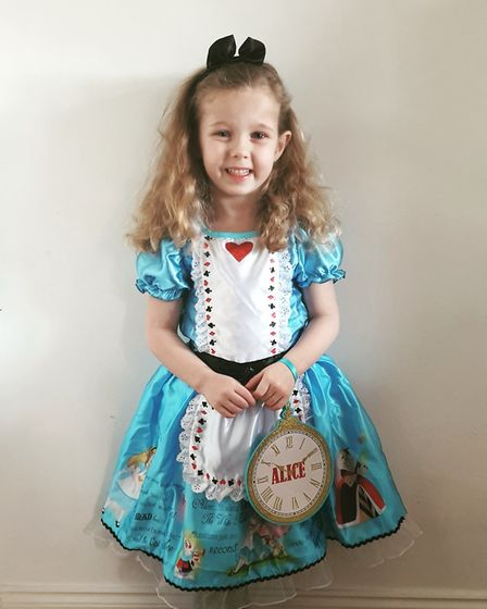 Daisy Harmer as Alice in Wonderland for World Book Day. Picture: Debbie Harmer