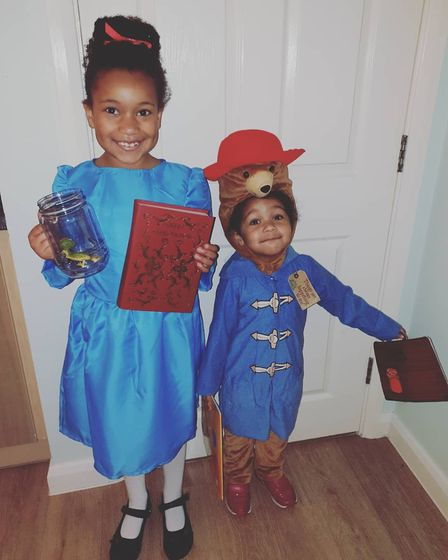Elodie, seven, as Matilda and Lyra, three, as Paddington Bear for World Book Day. Picture: Polly L-H