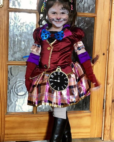 Brooke, three, dressed as the White Rabbit for World Book Day. Picture: Juliet Collins