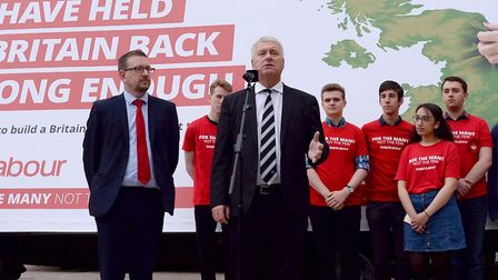 MP Ian Lavery speaking at a Labour poster launch. Photograph: Stefan Rousseau/PA.