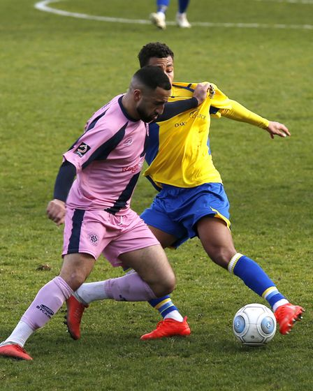 Zane Banton in action against Dulwich Hamlet. Picture: LEIGH PAGE