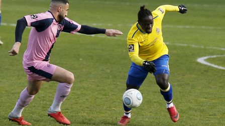 Solomon Sambou in action against Dulwich Hamlet. Picture: LEIGH PAGE