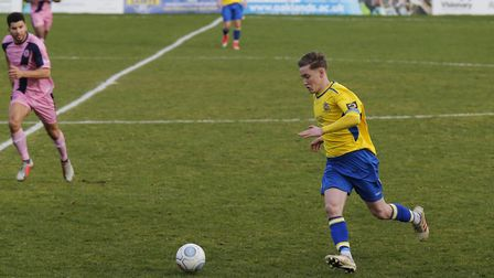 Ben Wyatt stretces his legs as St Albans City push forward. Picture: LEIGH PAGE