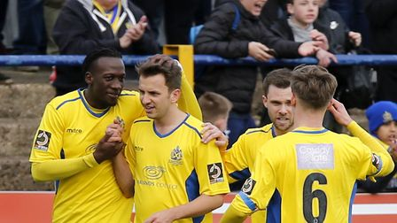 The Saints celebrate Sam Merson's winner. Picture: LEIGH PAGE