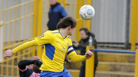 Tom Bender powers a header towards goal. Picture: LEIGH PAGE