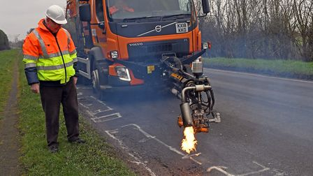 Cambridgeshire County Council's dragon patcher in action at Wyton. Picture: ARCHANT