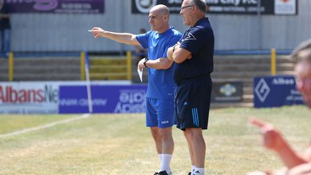 St Albans Citys Ian Allinson and Glen Alzapiedi shouted themselves hoarse against Weston-super-Mare.