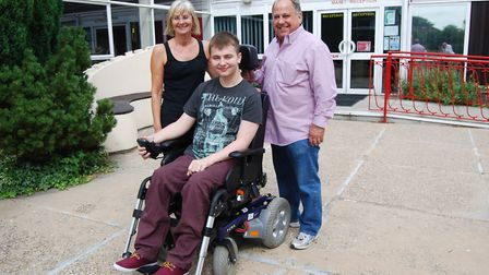 Glen Shorey with his father and Sandra Stellon, support teacher at Sandringham School
