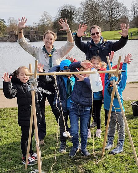 Beavers in St Albans went on a 'Water Walk' to raise money for Water Aid. Picture: Thor Beaver Colon