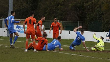 St Ives Town on the attack in their win at Leiston. Picture: LOUISE THOMPSON