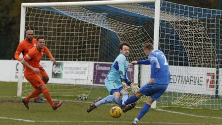 St Ives Town goalkeeper Martin Conway kept a clean sheet in their win at Leiston. Picture: LOUISE TH