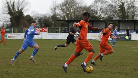 Andrew Osei-Bonsu earned the penalty which sealed St Ives Town's victory at Leiston. Picture: LOUISE