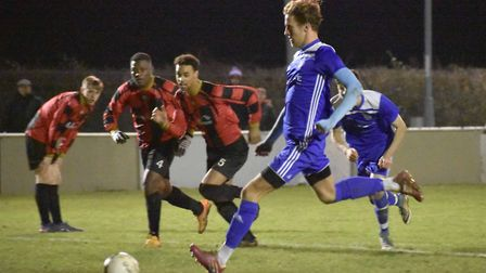 Jack Chandler scored twice as Godmanchester Rovers beat Woodbridge last Tuesday. Picture: JAMES RICH