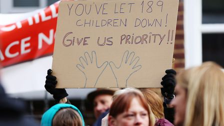 Parents and children protest the lack of secondary school places in St Albans city centre. Picture: