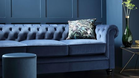 Moody Touches: Hampton Blue Velvet Fabric Chesterfield Sofa, £699.99, Furniture Choice. Picture: Fur