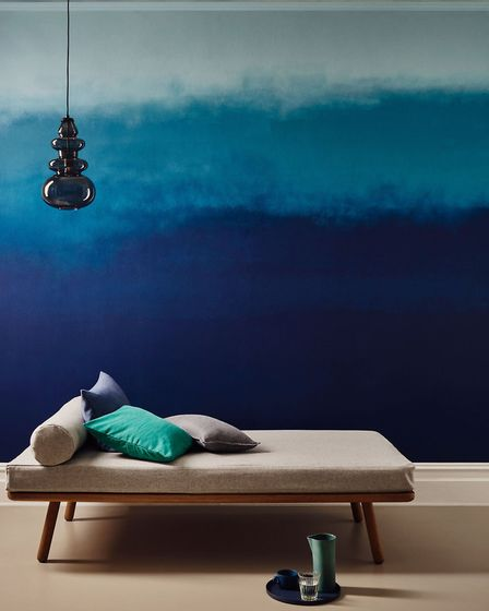 Dive Right In: Duck Egg and Teal Matt Emulsion, from £14 for 2.5L, and Midnight Navy Feature Wall Ma