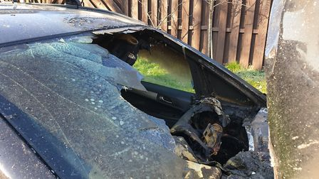 The Vauxhall Zafira B after the fire in St Albans. Picture: Richard Harvey