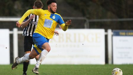Kyle McLeish was on target for Harpenden Town against Cockfosters. Picture: Karyn Haddon
