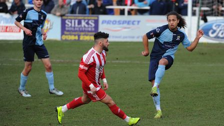 Jordan Norville-Williams (right) missed a penalty as St Neots Town were beaten by Lowestoft. Picture