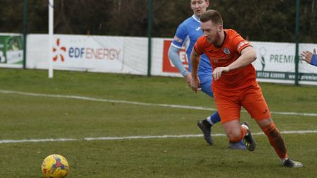 Jake Newman put St Ives Town ahead in their victory at Leiston. Picture: LOUISE THOMPSON