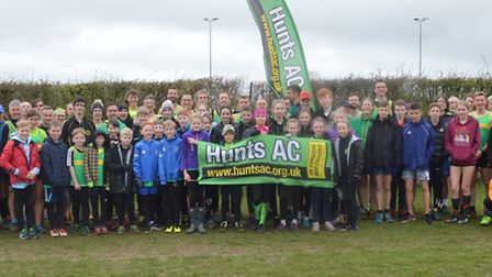 The Hunts AC junior and senior squads at the final round of the Frostbite Friendly League. Picture: