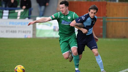 New St Neots Town signing Dan Trendall during his debut against Biggleswade Town in the Southern Lea