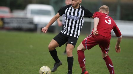 Chris Blunden scored twice to send Colney Heath into the semi-final of the Herts Charity Shield.