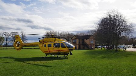 The East Anglian Air Ambulance landed in Riverside Park. Picture: SIMON LEHER