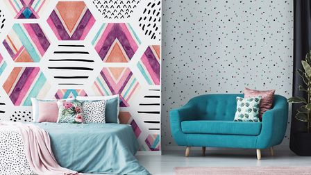 Watercolor Hexagon Seamless Pattern Wallpaper Vinyl Custom Made, from £29, Pixers.uk. Picture: Pixer