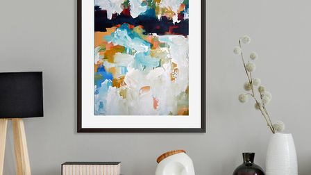 Accessories perfectly pick out the colours of this wall print: Abstract 351-Wall Art Print, £8.95, A