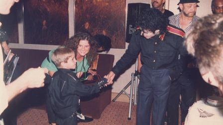 Wade Robson meets MJ for the first time. Picture: Wade Robson/ AMOS Pictures
