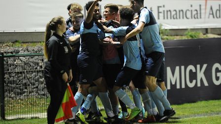 St Neots Town Under 18s celebrate during their title-clinching victory against Royston Town. Picture