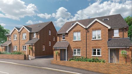 The new development on Folly Lane, St Albans, consists of four semi-detached houses. Picture: Ashton