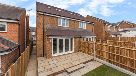 Outside one of the homes at the new development on Folly Lane, St Albans. Picture: Ashtons