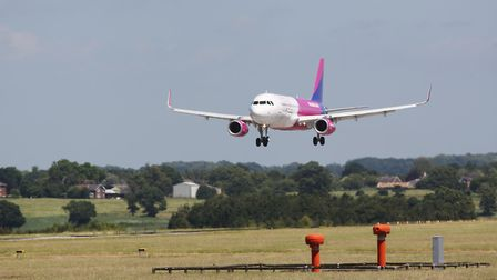 A Wizz Air plane comes in to land at Luton Airport. Picture: DANNY LOO